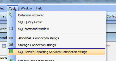 to create ssrs connection string select the tools menu when the web control panel has focus and then select the sql server reporting services connection. Resume Example. Resume CV Cover Letter
