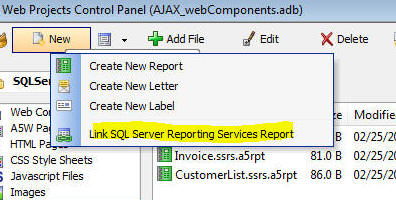 this will bring up a dialog where you can select the ssrs reports you want to link in your alpha anywhere project - Sql Report Writing