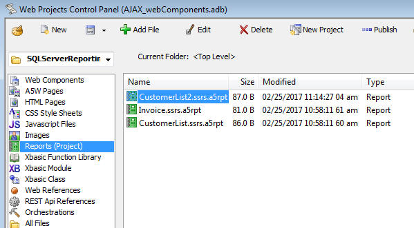 then click the new button the dropdown menu shows these choices - Sql Report Writing